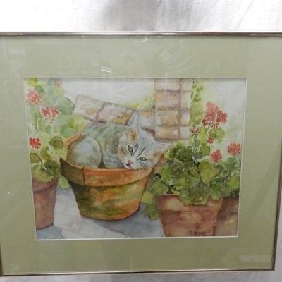 Aquarel schilderij C. Krijger
