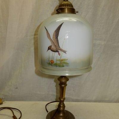 Antieke Vintage schemerlamp melkglas vogels