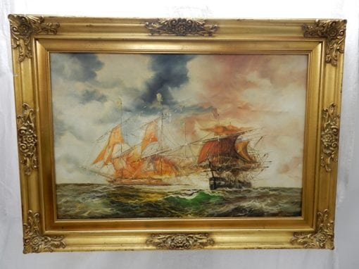 Schilderij Zeilschepen in grote brocante gouden lijst