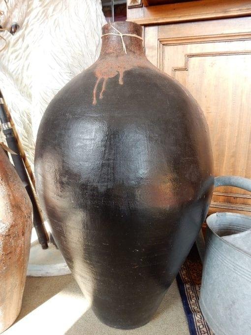 Vloervaas aardewerk zwart 78 cm