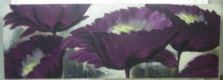 Schilderij paarse bloemen 150 cm