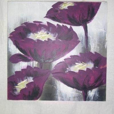 Schilderij paarse bloem 60 cm