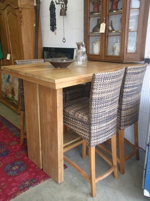 Teakhouten bartafel met 4 stoelen