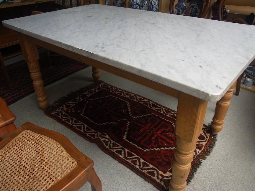 Tafel Van Marmer.Tafel Met Massief Marmeren Blad